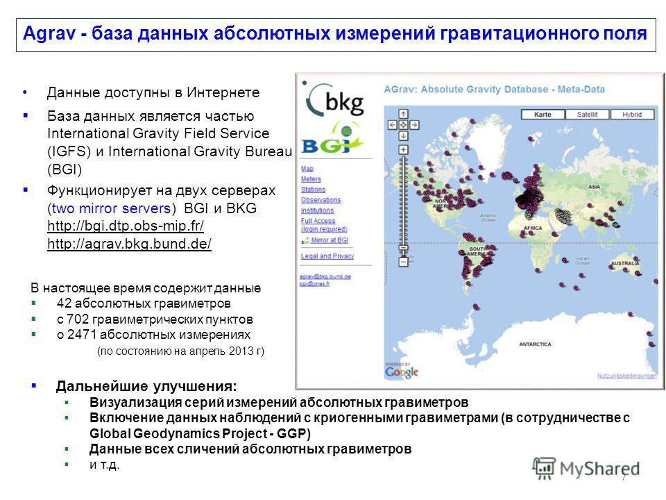Agrav - база данных абсолютных измерений гравитационного поля Данные доступны в Интернете База данных является частью International Gravity Field Service (IGFS) и International Gravity Bureau (BGI) Функционирует на двух серверах (two mirror servers)
