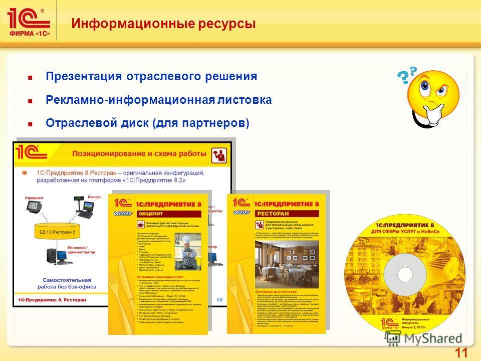 11 Информационные ресурсы Презентация отраслевого решения Рекламно-информационная листовка Отраслевой диск (для партнеров)