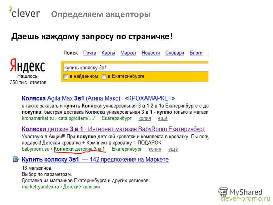 Определяем акцепторы clever-promo.ru Даешь каждому запросу по страничке!