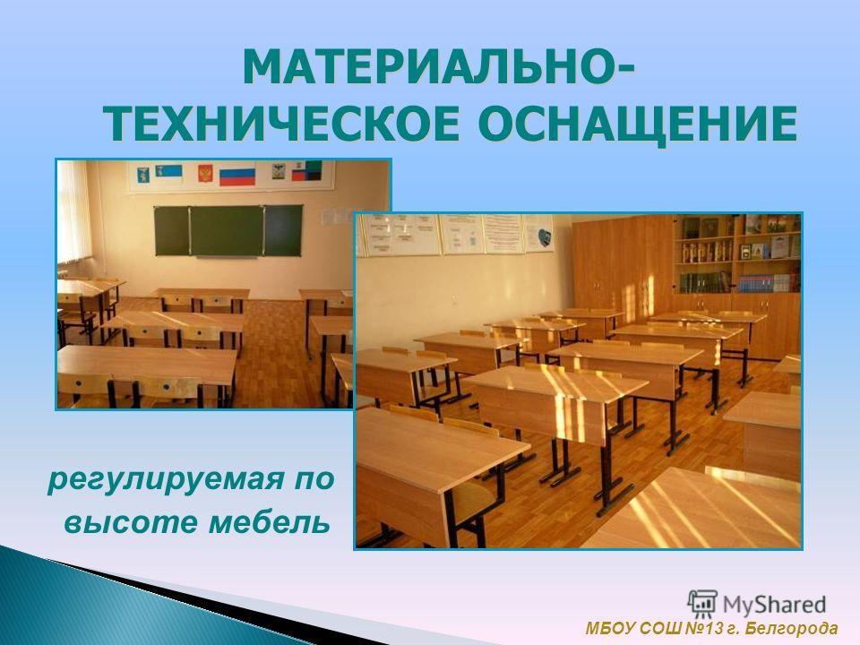 регулируемая по высоте мебель МБОУ СОШ 13 г. Белгорода МАТЕРИАЛЬНО- ТЕХНИЧЕСКОЕ ОСНАЩЕНИЕ