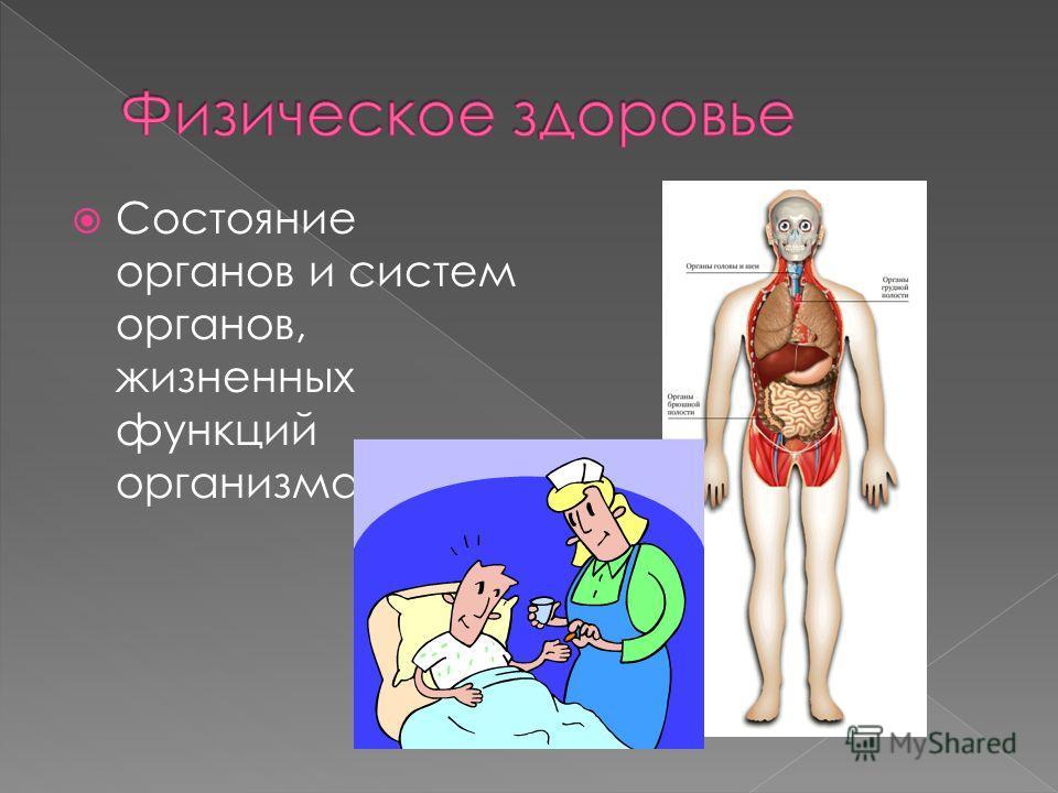 Состояние органов и систем органов, жизненных функций организма