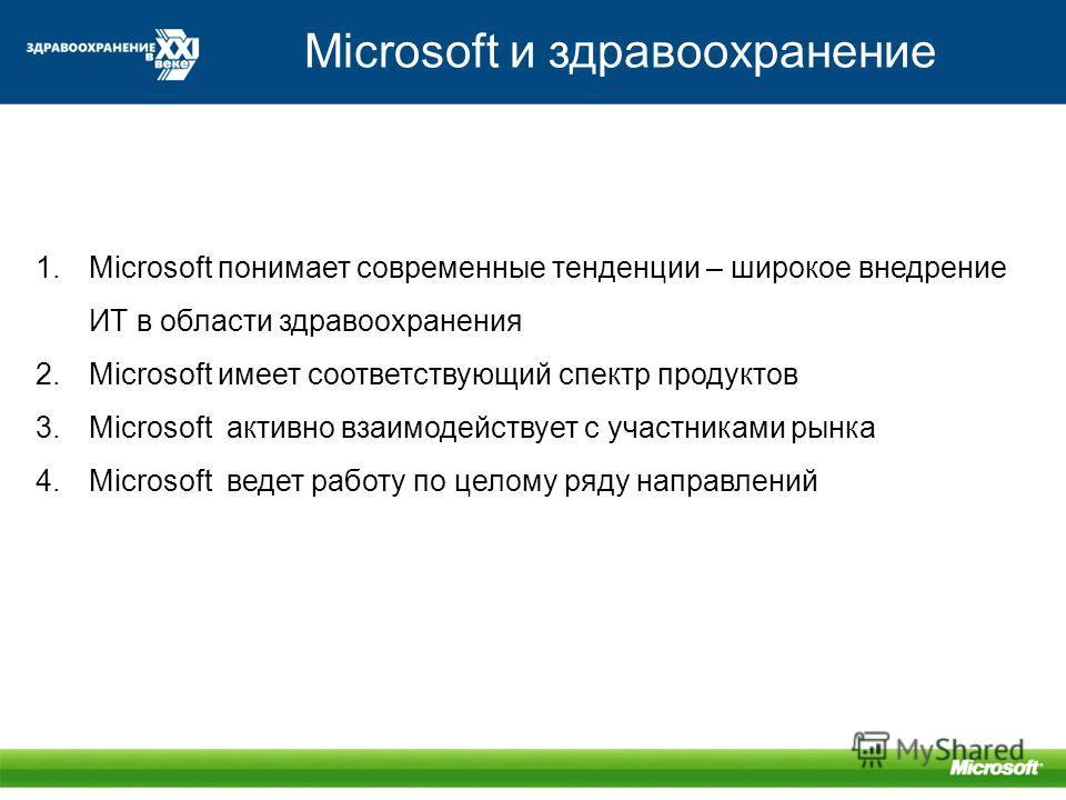 Microsoft и здравоохранение 1.Microsoft понимает современные тенденции – широкое внедрение ИТ в области здравоохранения 2.Microsoft имеет соответствующий спектр продуктов 3.Microsoft активно взаимодействует с участниками рынка 4.Microsoft ведет работ