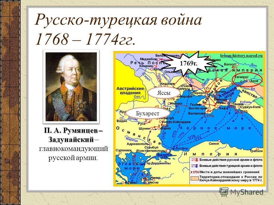 Русско-турецкая война 1768 – 1774гг. П. А. Румянцев – Задунайский П. А. Румянцев – Задунайский – главнокомандующий русской армии. Яссы Бухарест 1769г.
