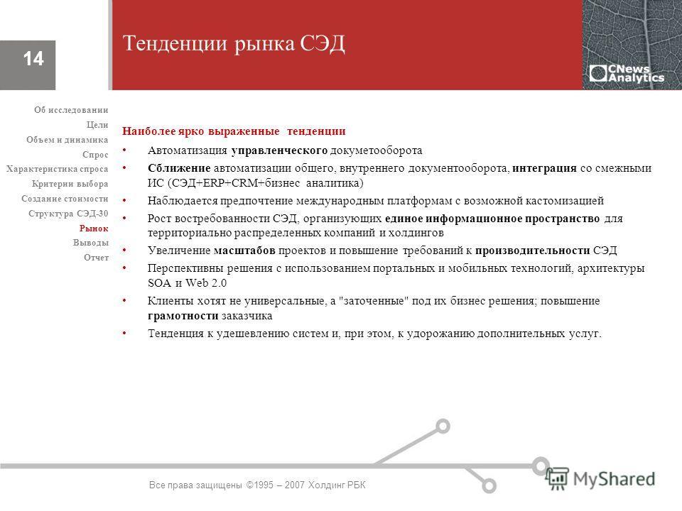 Все права защищены ©1995 – 2007 Холдинг РБК 14 Тенденции рынка СЭД Наиболее ярко выраженные тенденции Автоматизация управленческого докуметооборота Сближение автоматизации общего, внутреннего документооборота, интеграция со смежными ИС (СЭД+ERP+CRM+б