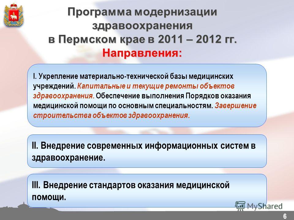 6 Программа модернизации здравоохранения в Пермском крае в 2011 – 2012 гг. Направления: I. Укрепление материально-технической базы медицинских учреждений. Капитальные и текущие ремонты объектов здравоохранения. Обеспечение выполнения Порядков оказани