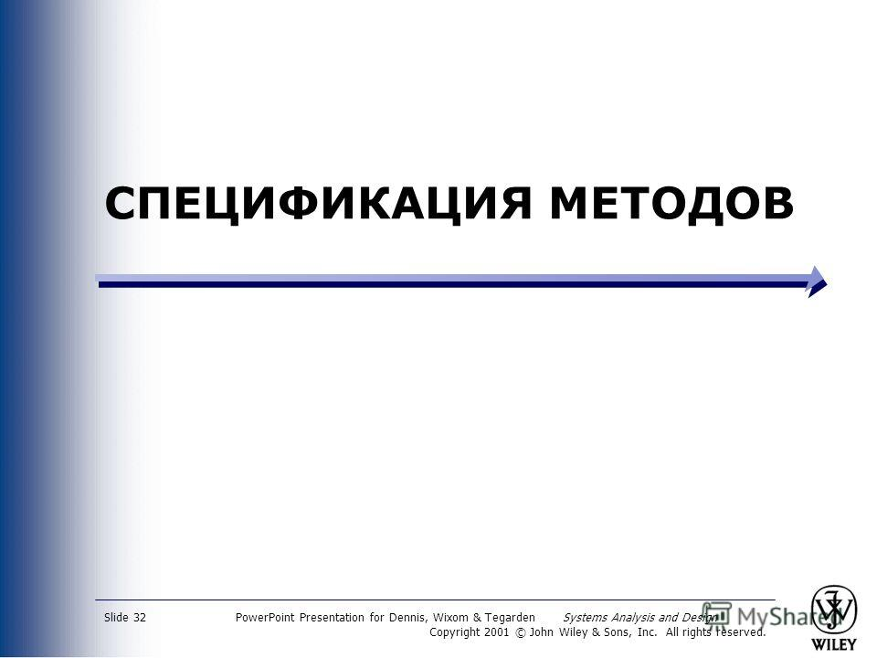 PowerPoint Presentation for Dennis, Wixom & Tegarden Systems Analysis and Design Copyright 2001 © John Wiley & Sons, Inc. All rights reserved. Slide 32 СПЕЦИФИКАЦИЯ МЕТОДОВ