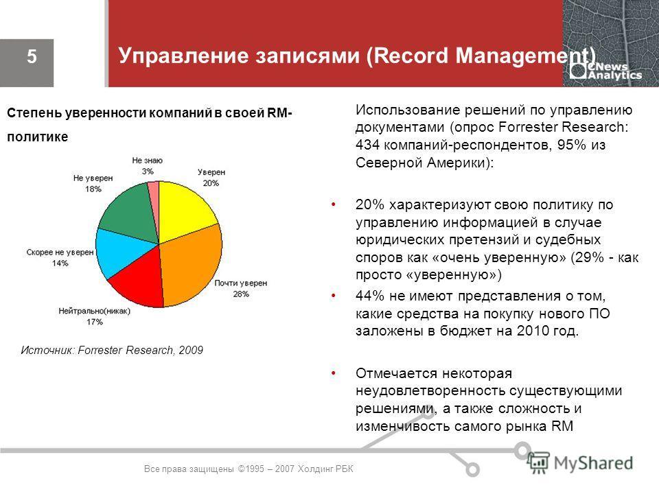 Все права защищены ©1995 – 2007 Холдинг РБК 5 Управление записями (Record Management) Использование решений по управлению документами (опрос Forrester Research: 434 компаний-респондентов, 95% из Северной Америки): 20% характеризуют свою политику по у