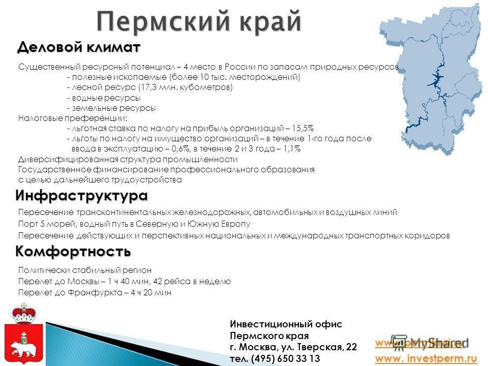 Пермский край Деловой климат Инфраструктура Комфортность Существенный ресурсный потенциал – 4 место в России по запасам природных ресурсов - полезные ископаемые (более 10 тыс. месторождений) - лесной ресурс (17,3 млн. кубометров) - водные ресурсы - з