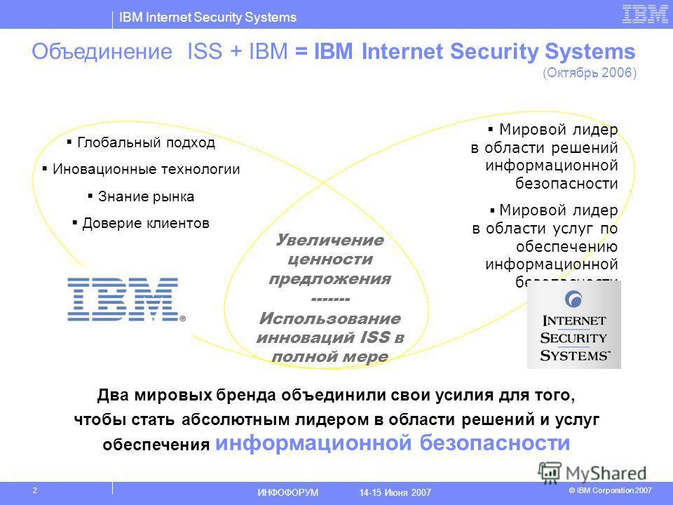 IBM Internet Security Systems © IBM Corporation 2007 ИНФОФОРУМ 14-15 Июня 2007 2 Мировой лидер в области решений информационной безопасности Мировой лидер в области услуг по обеспечению информационной безопасности Увеличение ценности предложения ----