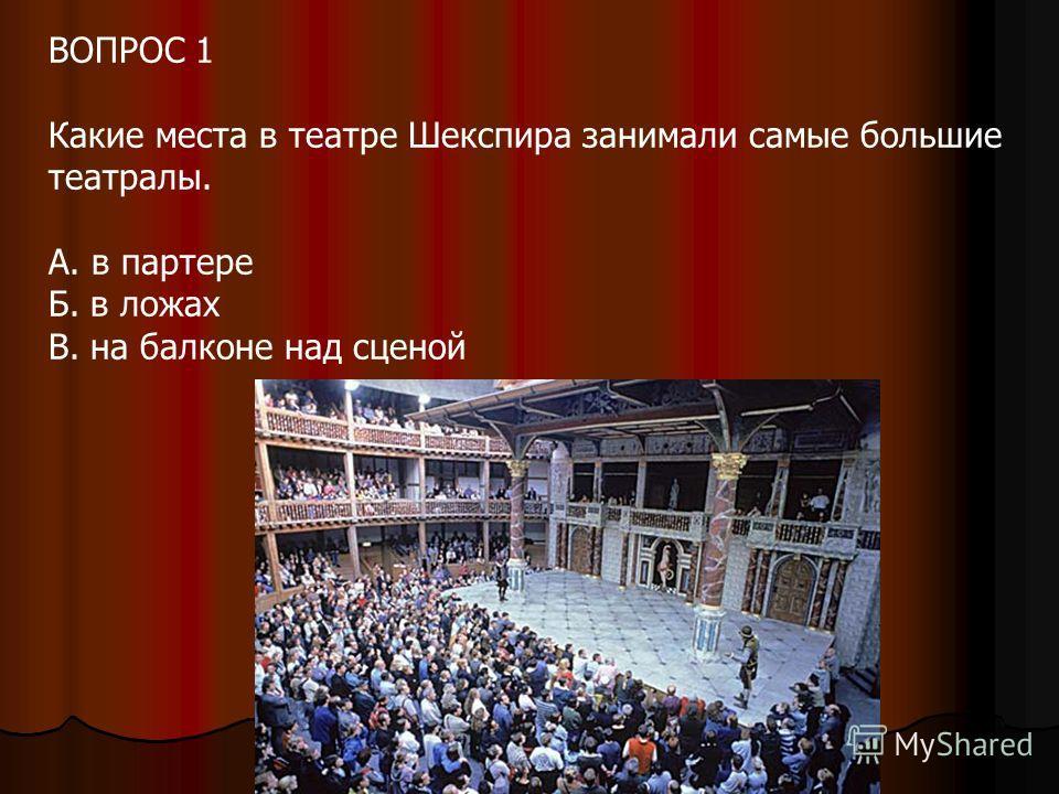 ВОПРОС 1 Какие места в театре Шекспира занимали самые большие театралы. А. в партере Б. в ложах В. на балконе над сценой