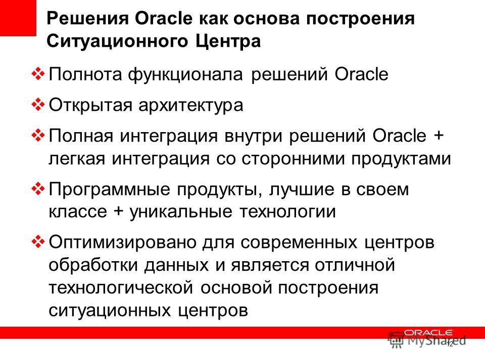 12 Решения Oracle как основа построения Ситуационного Центра Полнота функционала решений Oracle Открытая архитектура Полная интеграция внутри решений Oracle + легкая интеграция со сторонними продуктами Программные продукты, лучшие в своем классе + ун