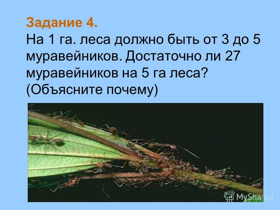 Задание 4. На 1 га. леса должно быть от 3 до 5 муравейников. Достаточно ли 27 муравейников на 5 га леса? (Объясните почему)
