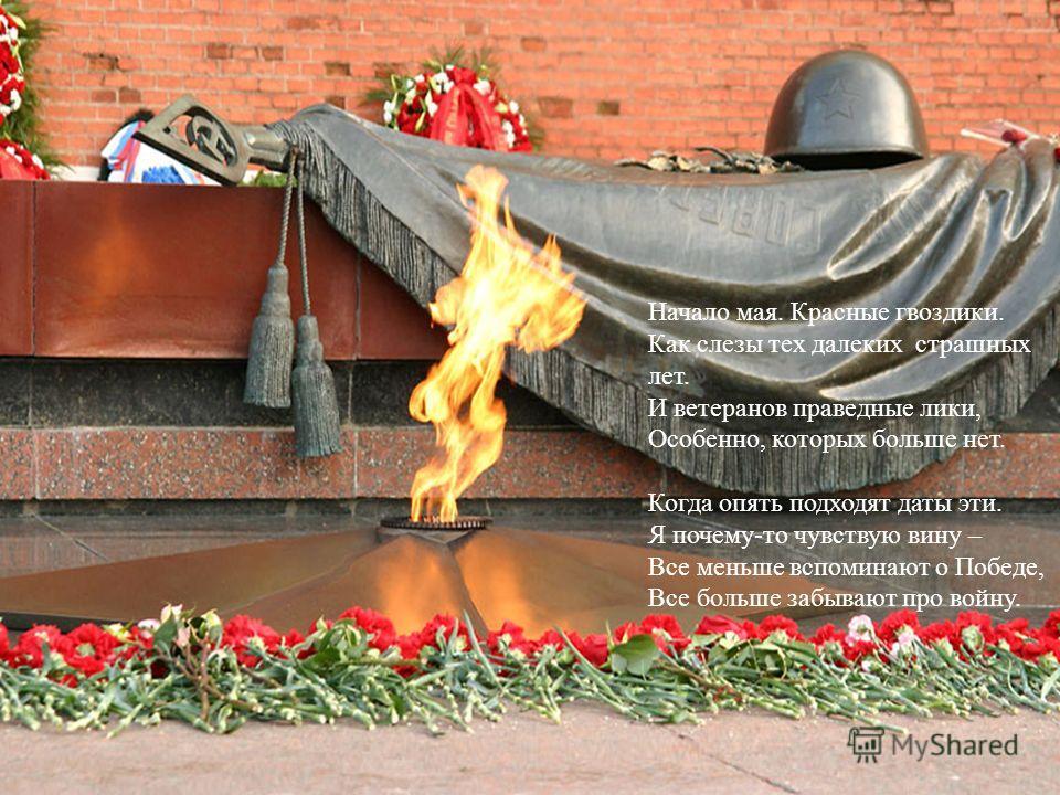 Начало мая. Красные гвоздики. Как слезы тех далеких страшных лет. И ветеранов праведные лики, Особенно, которых больше нет. Когда опять подходят даты эти. Я почему-то чувствую вину – Все меньше вспоминают о Победе, Все больше забывают про войну.