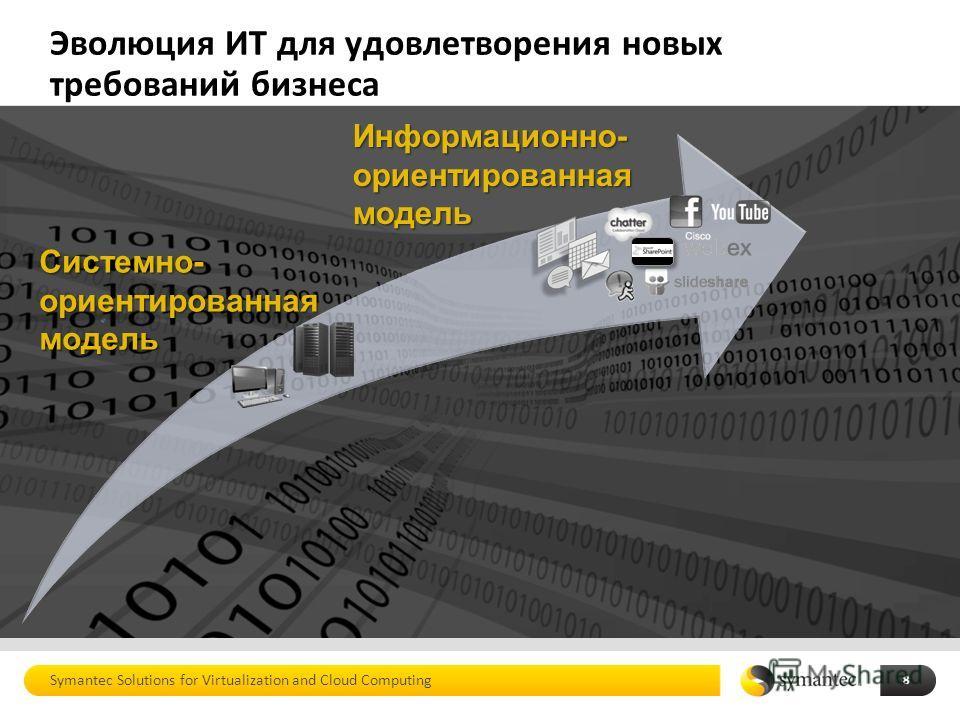 Эволюция ИТ для удовлетворения новых требований бизнеса Symantec Solutions for Virtualization and Cloud Computing 8 Информационно- ориентированная модель Системно- ориентированная модель