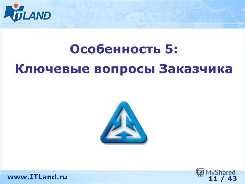 11 / 43 www.ITLand.ru Особенность 5: Ключевые вопросы Заказчика