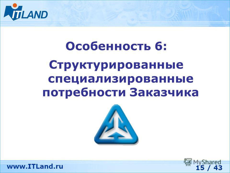 15 / 43 www.ITLand.ru Особенность 6: Структурированные специализированные потребности Заказчика