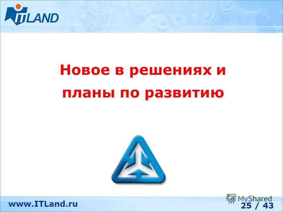 25 / 43 www.ITLand.ru Новое в решениях и планы по развитию