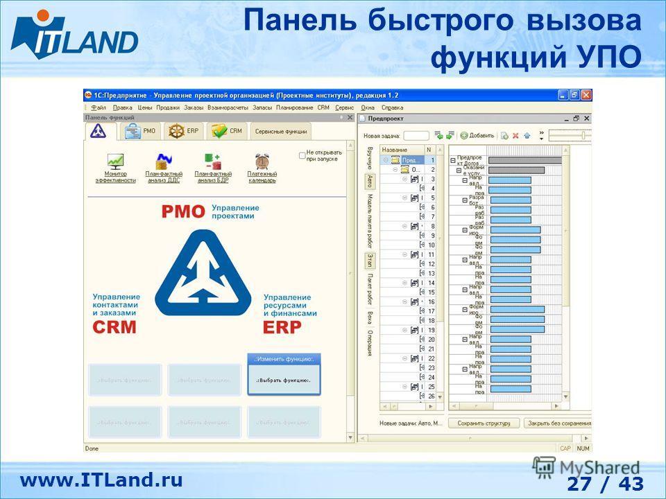 27 / 43 www.ITLand.ru Панель быстрого вызова функций УПО