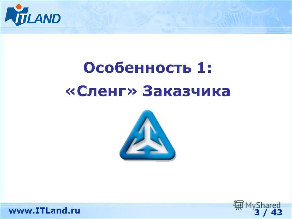 3 / 43 www.ITLand.ru Особенность 1: «Сленг» Заказчика