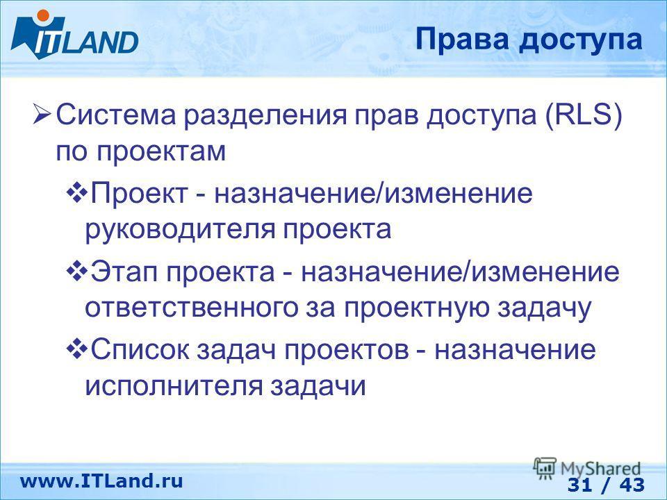 31 / 43 www.ITLand.ru Права доступа Система разделения прав доступа (RLS) по проектам Проект - назначение/изменение руководителя проекта Этап проекта - назначение/изменение ответственного за проектную задачу Список задач проектов - назначение исполни