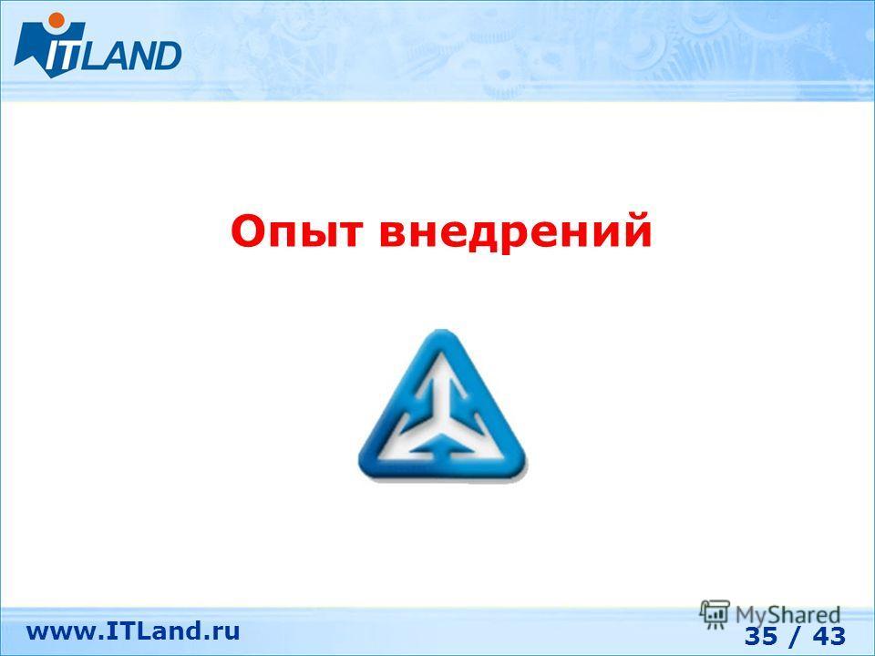 35 / 43 www.ITLand.ru Опыт внедрений