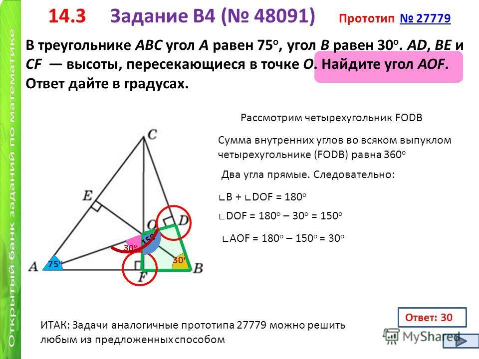 14.3 Задание B4 ( 48091) Прототип 27779 27779 В треугольнике ABC угол A равен 75 о, угол B равен 30 о. AD, BE и CF высоты, пересекающиеся в точке O. Найдите угол AOF. Ответ дайте в градусах. 75 о 30 о Ответ: 30 Рассмотрим четырехугольник FODB Сумма в