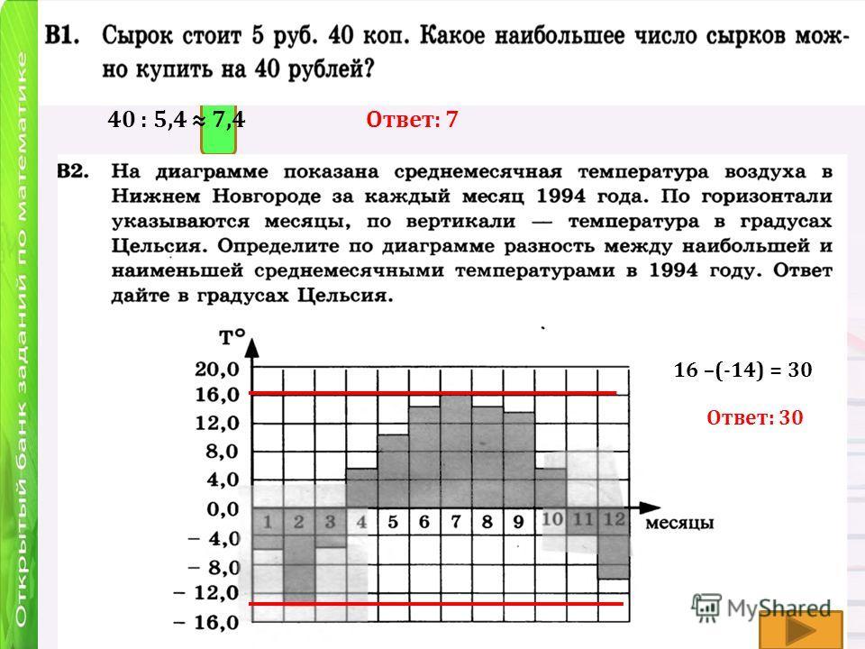 40 : 5,4 7,4Ответ: 7 Ответ: 30 16 –(-14) = 30