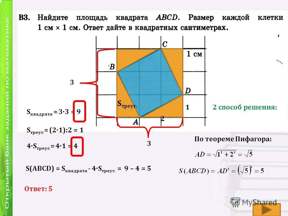 S треуг. 3 3 S квадрата = 3·3 = 9 S треуг. = (2·1):2 = 1 4·S треуг. = 4·1 = 4 S(АВСD) = S квадрата - 4·S треуг. = 9 – 4 = 5 Ответ: 5 2 способ решения:1 2 По теореме Пифагора: