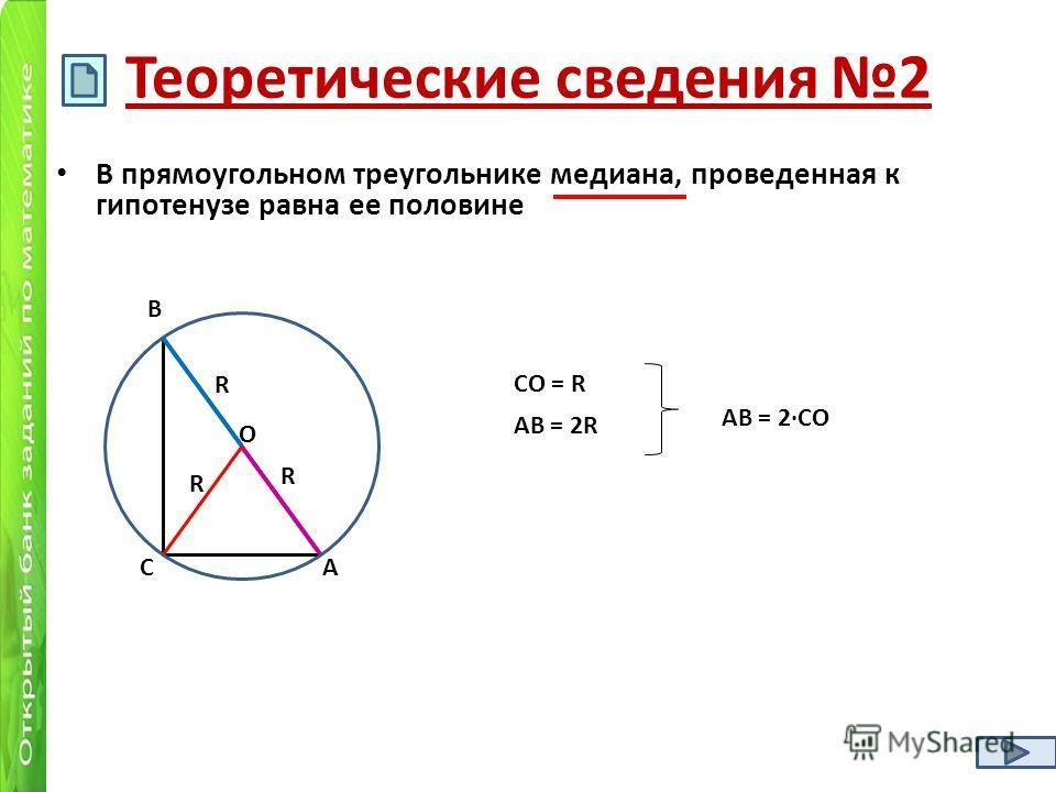 Теоретические сведения 2 В прямоугольном треугольнике медиана, проведенная к гипотенузе равна ее половине R R R О С В А АВ = 2R СО = R АВ = 2СО