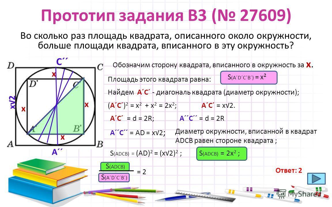 Прототип задания B3 ( 27609) Во сколько раз площадь квадрата, описанного около окружности, больше площади квадрата, вписанного в эту окружность? Обозначим сторону квадрата, вписанного в окружность за х. х х х х Найдем АˊСˊ - диагональ квадрата (диаме