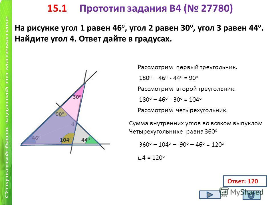 15.1 Прототип задания B4 ( 27780) На рисунке угол 1 равен 46 о, угол 2 равен 30 о, угол 3 равен 44 о. Найдите угол 4. Ответ дайте в градусах. Ответ: 120 46 о 30 о 44 о Рассмотрим первый треугольник. 180 о – 46 о - 44 о = 90 о 90 о Рассмотрим второй т
