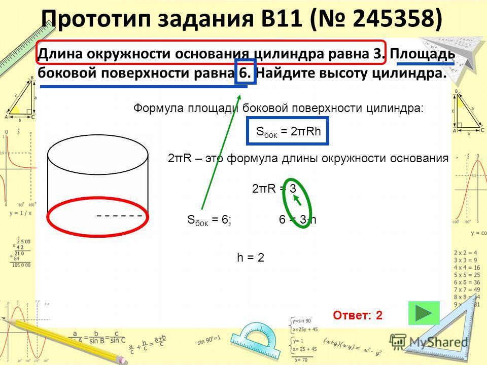 Прототип задания B11 ( 245358) Длина окружности основания цилиндра равна 3. Площадь боковой поверхности равна 6. Найдите высоту цилиндра. Формула площади боковой поверхности цилиндра: S бок = 2πRh 2πR – это формула длины окружности основания 2πR = 3