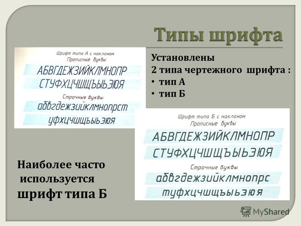Установлены 2 типа чертежного шрифта : тип А тип Б Наиболее часто используется шрифт типа Б