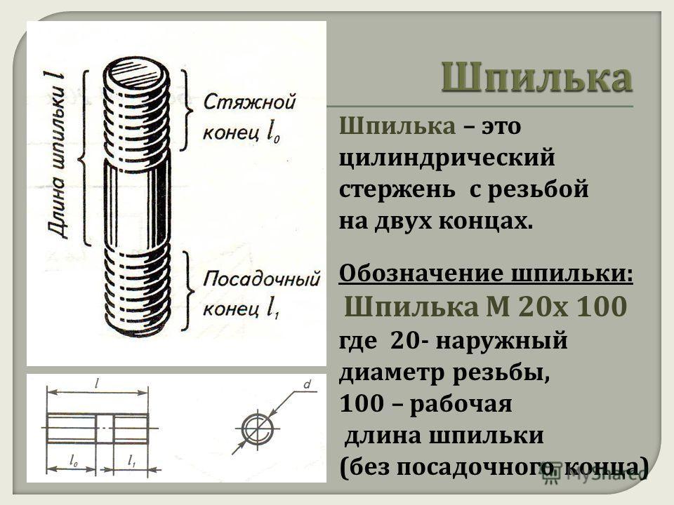 Шпилька – это цилиндрический стержень с резьбой на двух концах. Обозначение шпильки : Шпилька М 20 х 100 где 20- наружный диаметр резьбы, 100 – рабочая длина шпильки ( без посадочного конца )