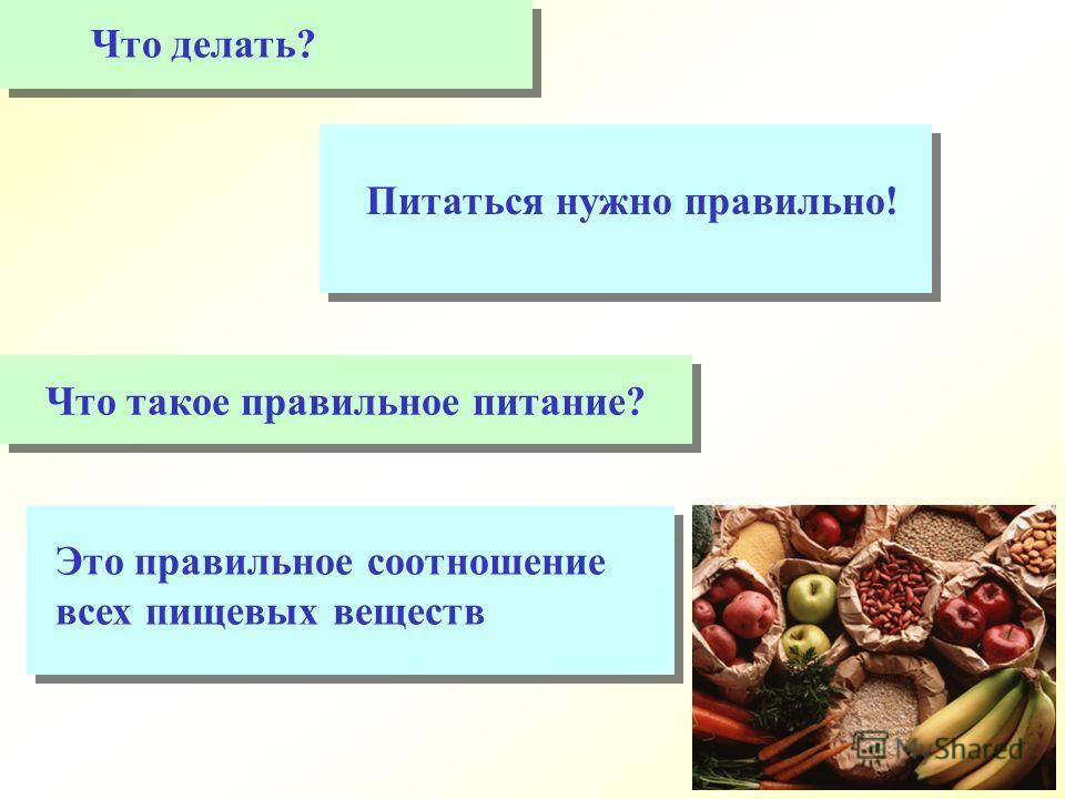 Это правильное соотношение всех пищевых веществ Что делать? Питаться нужно правильно! Что такое правильное питание?