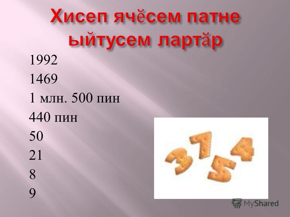 1992 1469 1 млн. 500 пин 440 пин 50 21 8 9