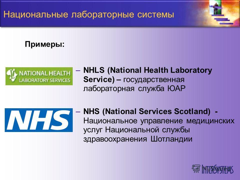 Национальные лабораторные системы –NHLS (National Health Laboratory Service) – государственная лабораторная служба ЮАР –NHS (National Services Scotland) - Национальное управление медицинских услуг Национальной службы здравоохранения Шотландии Примеры