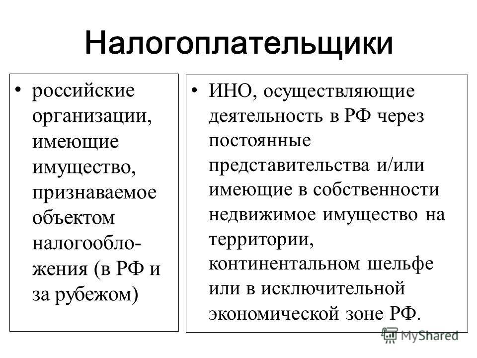 Налогоплательщики российские организации, имеющие имущество, признаваемое объектом налогообло- жения (в РФ и за рубежом) ИНО, осуществляющие деятельность в РФ через постоянные представительства и/или имеющие в собственности недвижимое имущество на те