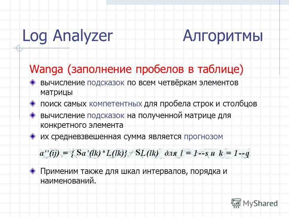 Log Analyzer Алгоритмы Wanga (заполнение пробелов в таблице) вычисление подсказок по всем четвёркам элементов матрицы поиск самых компетентных для пробела строк и столбцов вычисление подсказок на полученной матрице для конкретного элемента их среднев