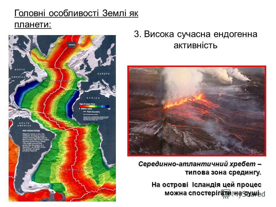 3. Висока сучасна ендогенна активність Головні особливості Землі як планети: Серединно-атлантичний хребет – типова зона средингу. На острові Ісландія цей процес можна спостерігати на суші.