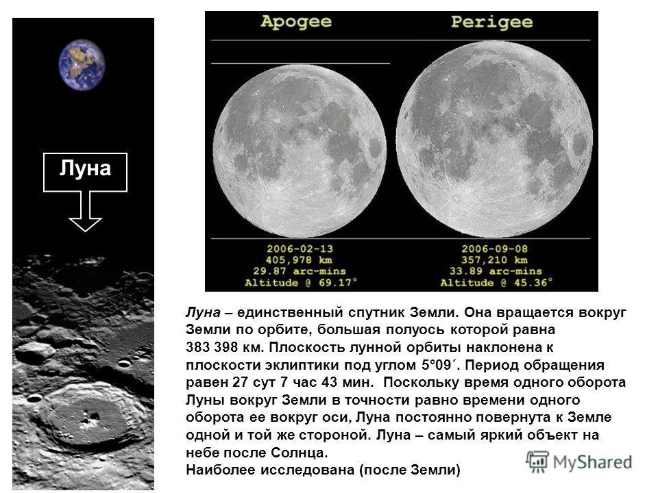 Луна – единственный спутник Земли. Она вращается вокруг Земли по орбите, большая полуось которой равна 383 398 км. Плоскость лунной орбиты наклонена к плоскости эклиптики под углом 5°09´. Период обращения равен 27 сут 7 час 43 мин. Поскольку время од