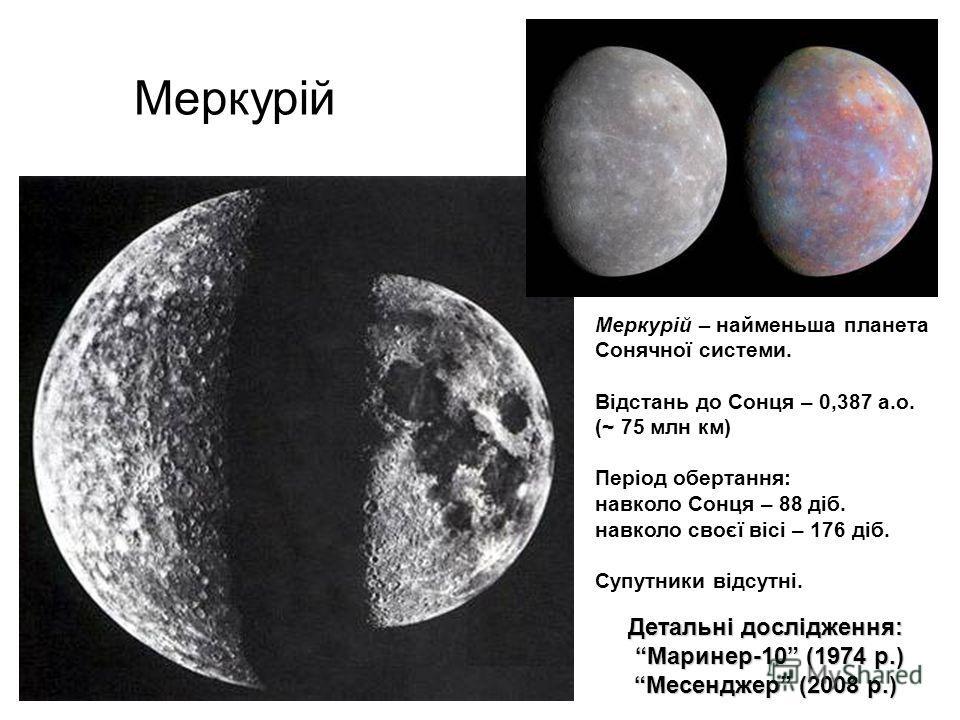 Меркурій Меркурій – найменьша планета Сонячної системи. Відстань до Сонця – 0,387 а.о. (~ 75 млн км) Період обертання: навколо Сонця – 88 діб. навколо своєї вісі – 176 діб. Супутники відсутні. Детальні дослідження: Маринер-10 (1974 р.) Месенджер (200