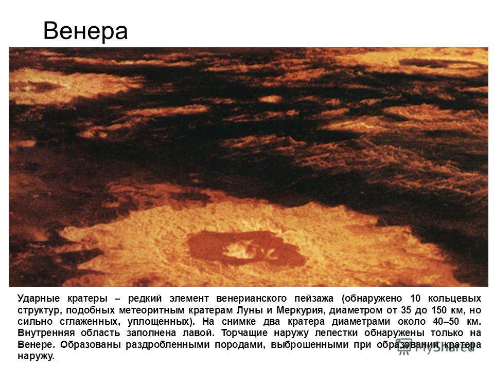 Венера Ударные кратеры – редкий элемент венерианского пейзажа (обнаружено 10 кольцевых структур, подобных метеоритным кратерам Луны и Меркурия, диаметром от 35 до 150 км, но сильно сглаженных, уплощенных). На снимке два кратера диаметрами около 40–50