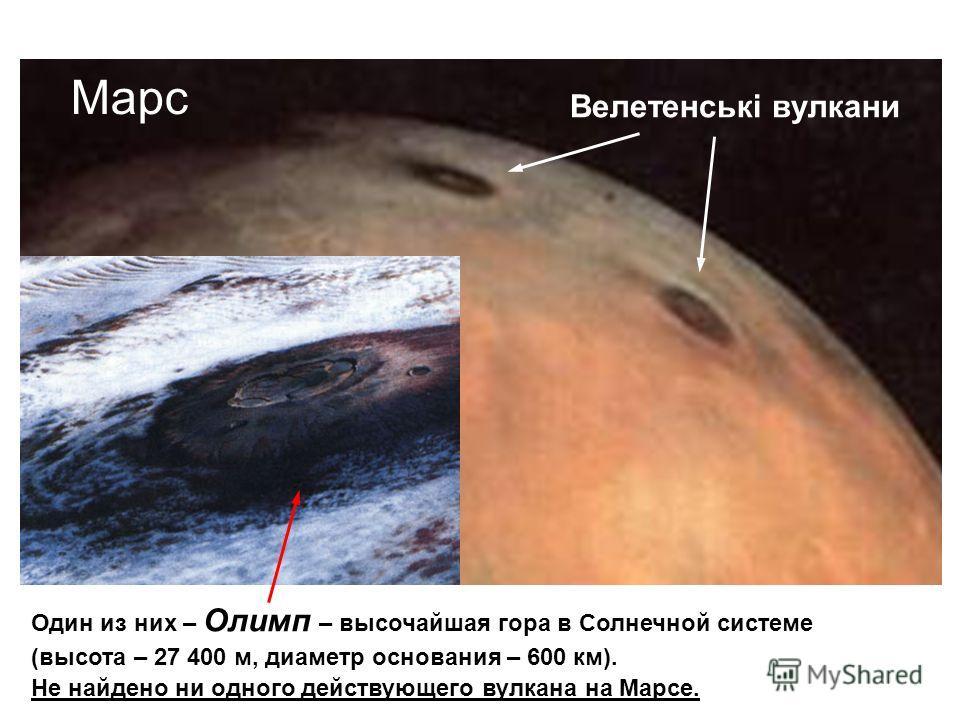 Один из них – Олимп – высочайшая гора в Солнечной системе (высота – 27 400 м, диаметр основания – 600 км). Не найдено ни одного действующего вулкана на Марсе. Велетенські вулкани Марс