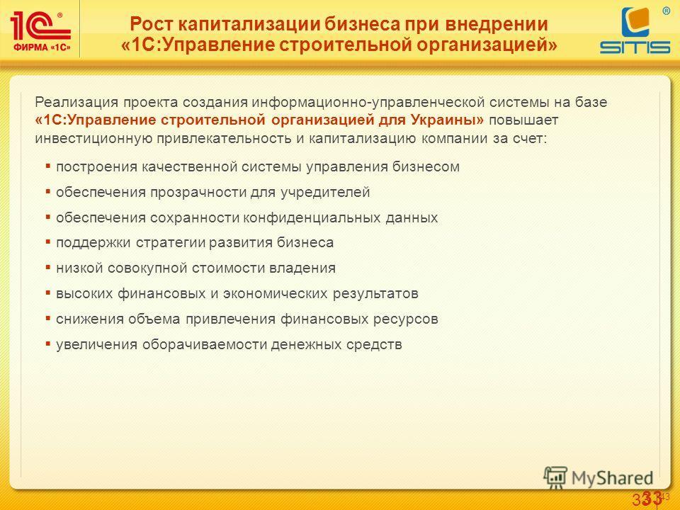 33 4343 Рост капитализации бизнеса при внедрении «1С:Управление строительной организацией» Реализация проекта создания информационно-управленческой системы на базе «1С:Управление строительной организацией для Украины» повышает инвестиционную привлека