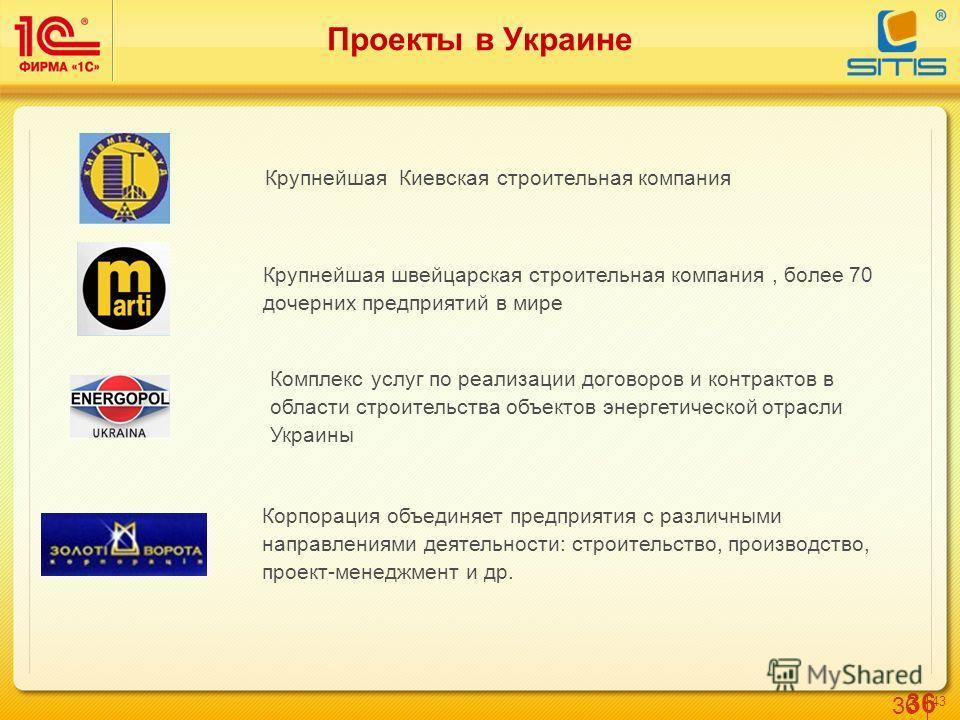 36 4343 Проекты в Украине Крупнейшая Киевская строительная компания Крупнейшая швейцарская строительная компания, более 70 дочерних предприятий в мире Корпорация объединяет предприятия с различными направлениями деятельности: строительство, производс