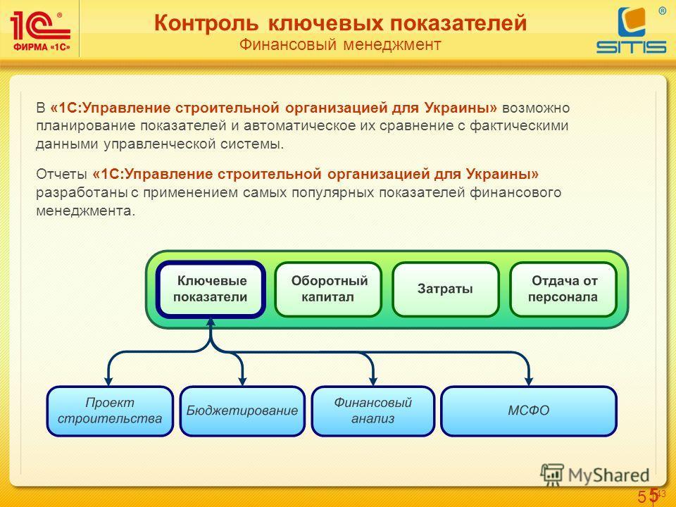 5 4343 5 Контроль ключевых показателей Финансовый менеджмент В «1С:Управление строительной организацией для Украины» возможно планирование показателей и автоматическое их сравнение с фактическими данными управленческой системы. Отчеты «1С:Управление