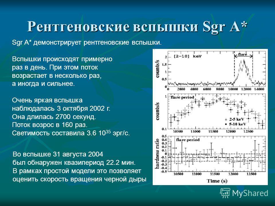Рентгеновские вспышки Sgr A* Sgr A* демонстрирует рентгеновские вспышки. Вспышки происходят примерно раз в день. При этом поток возрастает в несколько раз, а иногда и сильнее. Очень яркая вспышка наблюдалась 3 октября 2002 г. Она длилась 2700 секунд.