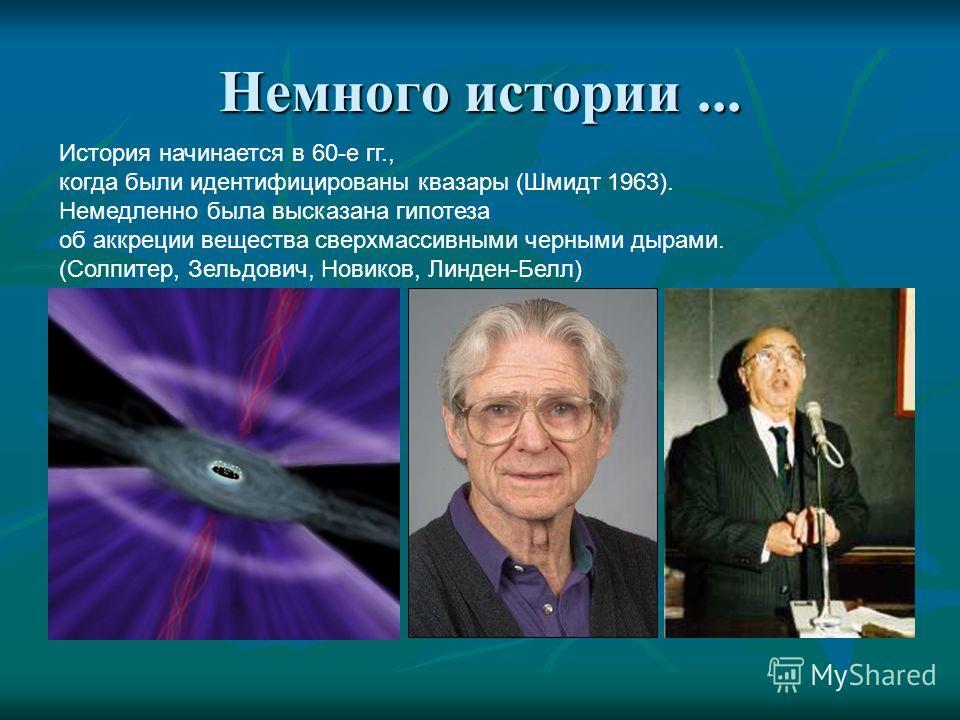 Немного истории... История начинается в 60-е гг., когда были идентифицированы квазары (Шмидт 1963). Немедленно была высказана гипотеза об аккреции вещества сверхмассивными черными дырами. (Солпитер, Зельдович, Новиков, Линден-Белл)