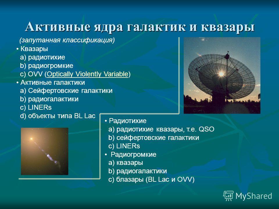 Активные ядра галактик и квазары Квазары a) радиотихие b) радиогромкие c) OVV (Optically Violently Variable)Optically Violently Variable Активные галактики a) Сейфертовские галактики b) радиогалактики c) LINERs d) объекты типа BL Lac Радиотихие a) ра